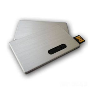 Push-Pull Metal Credit Card USB Flash Drive 16GB pictures & photos