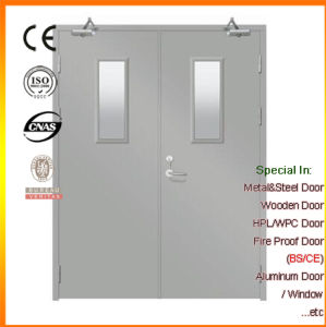 Double Leaf Steel Fire-Rated Door with Clear Glass pictures & photos