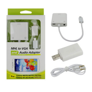 Micro USB Mhl to VGA Audio Cable Adapter for Samsung/HTC/LG pictures & photos
