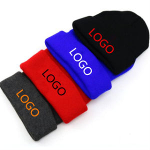 China Supplier Wholesale Custom Acrylic Print Embroidery Label Jacquard Logo Beanie Winter Hat pictures & photos