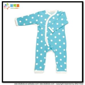 Dots Printing Baby Apparel Blue Color Newborn Jumpsuits pictures & photos