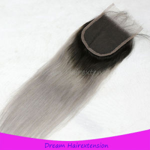 Cheap Ombre #1b/Grey Virgin Brazilian Hair Lace Closure with Baby Hair pictures & photos