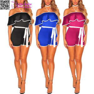 off Shoulder Belted Fashion Lay Suit Club Party Clothes (L55328) pictures & photos