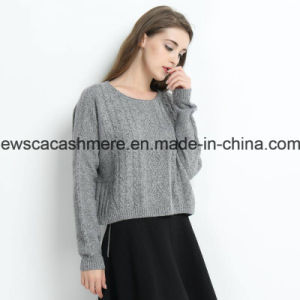 Women Cable Knit Solid Color Round Neck Pure Cashmere Sweater with Metallic Yarn pictures & photos
