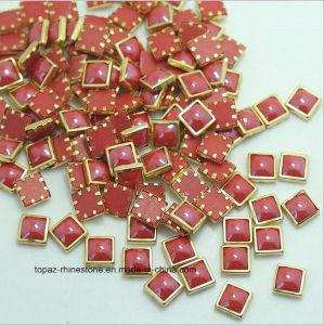 Hotfix Ceramic Rhinestones Metallic Gold Rim Domestuds DMC Crystals Hot Fix Strass Stones DIY Iron on Nail Art Rhinestone (HF-Square 4*4mm) pictures & photos
