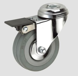 3inch Gray Rubber Industry Caster with Whole Brake pictures & photos
