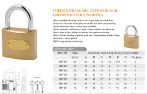 Imitate Brass Arc Typr Padlock Brass Painted Finishing pictures & photos
