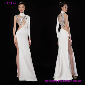 One Long Sleeve Elegant Broadside High Split Dinner Evening Dress pictures & photos