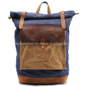 New Arrival Vintage Waxed Canvas Leather Backpack Hiking Backpack pictures & photos