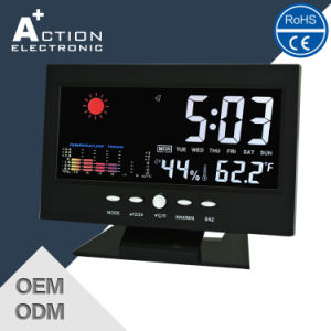 Colorful Screen Weather Station Clock for Home Decoration with Sound Controlled pictures & photos