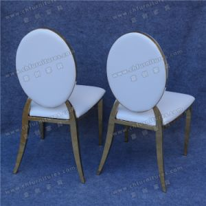 Cheap Gold Stainless Stee Diorl Chair with White PU Leather Seat Cushion in Dubai (YCX-SS26-01) pictures & photos