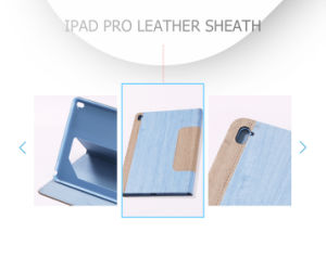 Simplicity Natural Wood Graining Leather 12.9 Inch Tablet Case pictures & photos