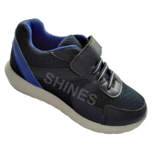 Grey Mesh and PU Kids′ Sport Shoes for Boys pictures & photos