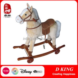 New Wooden Rocking Horse Plush Toys with Wheels for Kids pictures & photos