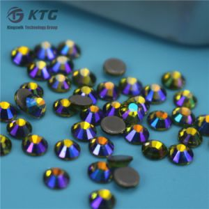 Crystal Clear Round Iron on Flat Back Stone Wholesales Hot Fix Rhinestones pictures & photos
