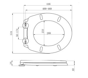 Top Fixing Toilet Seat with Slow Close Toilet Seat Hinges pictures & photos
