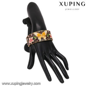 Bangle-186 Fashion Luxury Wide 24k Gold Plated Gemstone Flower Butterfly Open Bangle pictures & photos