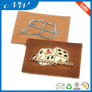 Factory Custom Embossed PU Leather Patch with Metal Label pictures & photos
