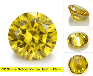 Loose Golden Yellow Synthetic Cubic Zircon Gems CZ Stone pictures & photos