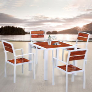 Outdoor Leisure Ways Patio Furniture Sitting Room Plastic Wood Aluminum Alloy Table and Chair pictures & photos