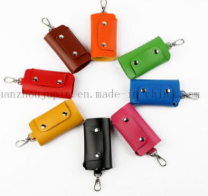 OEM Logo Wholesale Soft PU Leather Key Bag with Hook pictures & photos