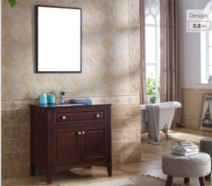 Wooden American Ceramic Bathroom Cabinet with Mirror and Basin