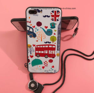 Emboss Style Silicone Cartoon Soft Shell Case for iPhone Use  with Hanging Rope pictures & photos