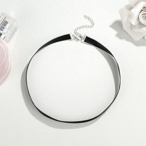 Fashion 925 Sterling Silver Jewelry Necklace Black Choker pictures & photos