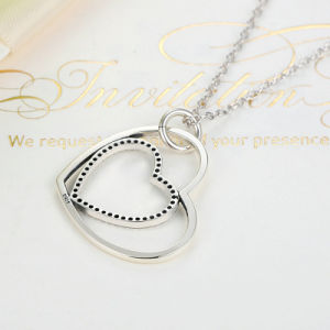 Classic 925 Sterling Silver Clear Heart to Heart Pendant Necklace pictures & photos