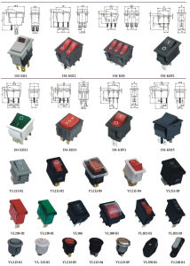12V 24V 110V 250V Green Red Blue Yellow 6 Pin Water Proof Rocker Switch pictures & photos
