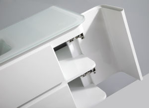 Glass Basin and PVC Bathroom Cabinet with White Painting pictures & photos