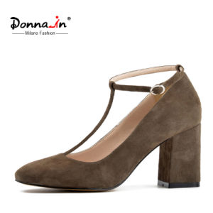 Lady Square-Toe High Heels Pumps T-Strap Suede Leather Women Shoes