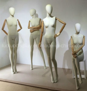 Trend Lead Linen Wrapped Female Mannequin with Wooden Arms pictures & photos
