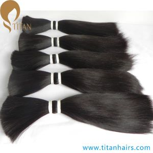 Correct Cuticle Natural Black Brazilian Virgin Human Hair Bulk pictures & photos