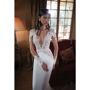 2017 Lace Long Sleeves Deep V-Neck Sexy Wedding Dress (Dream-100104) pictures & photos