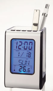 Pen Holder Table Clock with LED Backlight pictures & photos