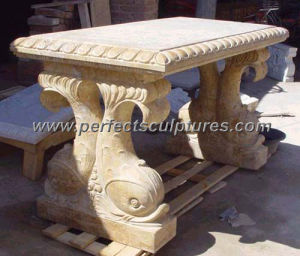 Carved Stone Marble Table Bench for Antique Garden Decoration (QTB022) pictures & photos