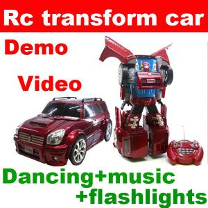 New Version RC Remote Control Dancing Transform Car Robot With Music Flashlights 6PCS/Lot