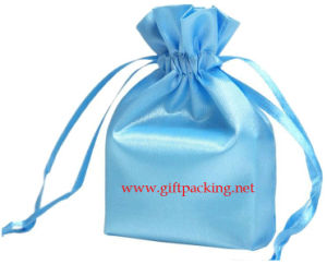 4X6 Inch Blue Satin Fabric Favor Jewelry Gift Bag