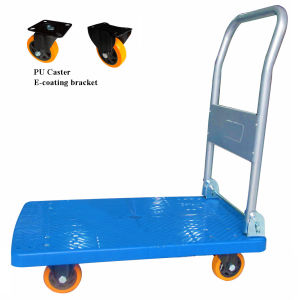300kg Plastic Platform Hand Trolley with PU Caster pictures & photos