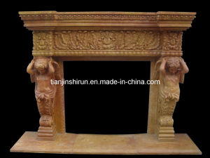 Yellow Marble Angel Carving Fireplace (FRP511) pictures & photos