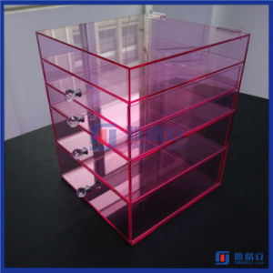 Hot Sale Custom Pink Color Acrylic Makeup Organizer with Drawers pictures & photos