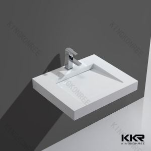 Bathroom High End Quality Wall Mounted Countertop Corian Washbasin pictures & photos