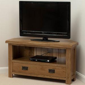 Solid Oak Corner TV + DVD Cabinet (HSRU0017C)