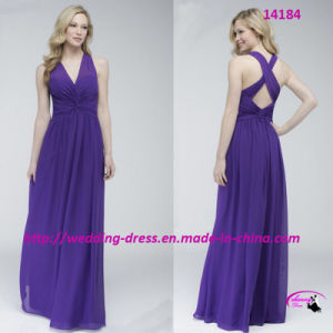 Floor Length Crisscross Back Bridesmaids Dress with Shirred Bodice pictures & photos