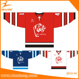 Healong Applique Logo Black/ Red Color Ice Hockey Jersey pictures & photos