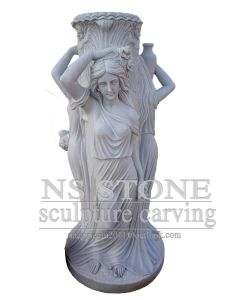Pure White Marble Beauty Maiden Fountain for Garden Mf-067 pictures & photos