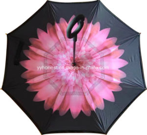 Flower Custom Wholesale C Handle Double Layer Inverted Umbrella pictures & photos
