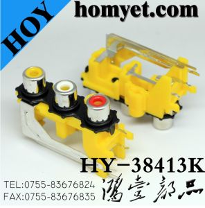 Three Holes RCA Socket with Silvering in Yellow (HY-38413K) pictures & photos