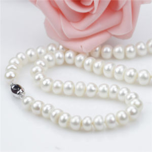 2016 Button Shape Choker 925 Silver Natural Pearl Necklace pictures & photos